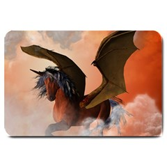 The Dark Unicorn Large Doormat  by FantasyWorld7