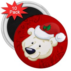 Funny Polar Bear 3  Magnets (10 Pack)  by FantasyWorld7