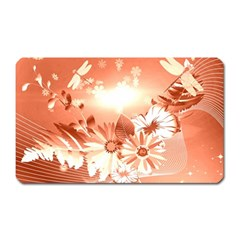 Amazing Flowers With Dragonflies Magnet (rectangular) by FantasyWorld7