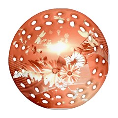 Amazing Flowers With Dragonflies Ornament (round Filigree)  by FantasyWorld7