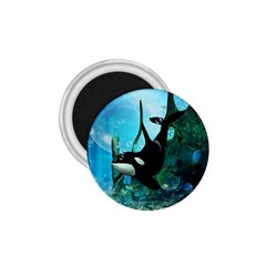 Orca Swimming In A Fantasy World 1.75  Magnets by FantasyWorld7