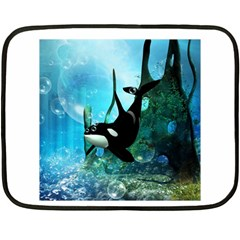 Orca Swimming In A Fantasy World Double Sided Fleece Blanket (mini)  by FantasyWorld7