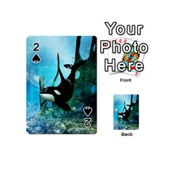 Orca Swimming In A Fantasy World Playing Cards 54 (mini)  by FantasyWorld7