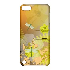 Beautiful Yellow Flowers With Dragonflies Apple Ipod Touch 5 Hardshell Case With Stand by FantasyWorld7