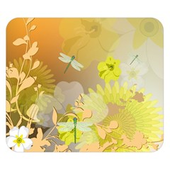 Beautiful Yellow Flowers With Dragonflies Double Sided Flano Blanket (small)  by FantasyWorld7