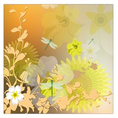 Beautiful Yellow Flowers With Dragonflies Large Satin Scarf (square)
