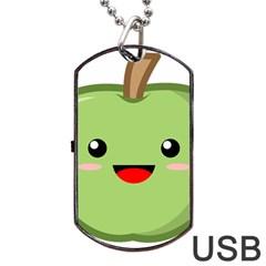 Kawaii Green Apple Dog Tag Usb Flash (one Side) by KawaiiKawaii