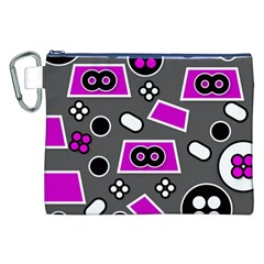 Grey Pink Abstract  Canvas Cosmetic Bag (xxl)  by OCDesignss