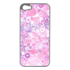Lovely Allover Ring Shapes Flowers Pink Apple Iphone 5 Case (silver) by MoreColorsinLife