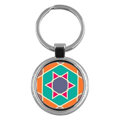 Red retro star Key Chain (Round) by LalyLauraFLM