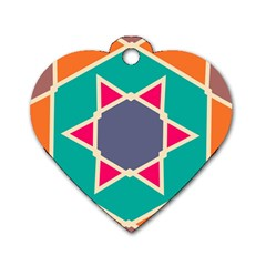 Red Retro Star Dog Tag Heart (two Sides) by LalyLauraFLM