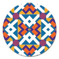 Shapes In Rectangles Pattern Magnet 5  (round) by LalyLauraFLM