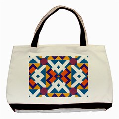 Shapes In Rectangles Pattern Basic Tote Bag (two Sides) by LalyLauraFLM