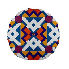 Shapes In Rectangles Pattern Standard 15  Premium Round Cushion  by LalyLauraFLM