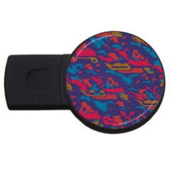 Chaos in retro colors USB Flash Drive Round (2 GB) by LalyLauraFLM