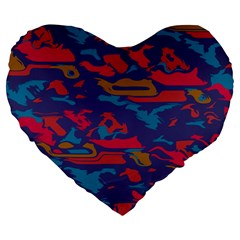 Chaos In Retro Colors Large 19  Premium Heart Shape Cushion by LalyLauraFLM