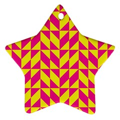 Pink And Yellow Shapes Pattern Ornament (star) by LalyLauraFLM