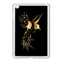 Beautiful Bird In Gold And Black Apple iPad Mini Case (White) by FantasyWorld7