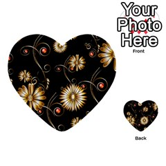 Golden Flowers On Black Background Multi Purpose Cards (heart)  by FantasyWorld7