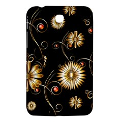 Golden Flowers On Black Background Samsung Galaxy Tab 3 (7 ) P3200 Hardshell Case  by FantasyWorld7