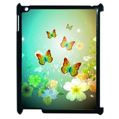 Flowers With Wonderful Butterflies Apple iPad 2 Case (Black)