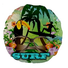 Surfing Large 18  Premium Round Cushions by FantasyWorld7