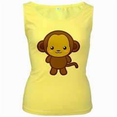 Kawaii Monkey Women s Yellow Tank Tops by KawaiiKawaii