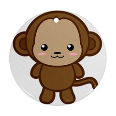 Kawaii Monkey Round Ornament (Two Sides)  by KawaiiKawaii