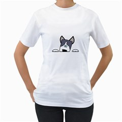 Peeping Siberian Husky Women s T-Shirt (White) (Two Sided) by TailWags