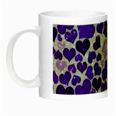 Sparkling Hearts Blue Night Luminous Mugs by MoreColorsinLife
