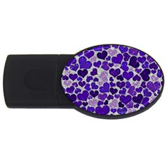 Sparkling Hearts Blue USB Flash Drive Oval (4 GB)  by MoreColorsinLife
