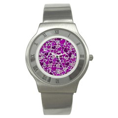 Sparkling Hearts Purple Stainless Steel Watches by MoreColorsinLife