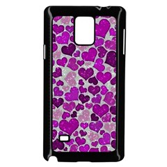 Sparkling Hearts Purple Samsung Galaxy Note 4 Case (black) by MoreColorsinLife