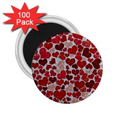 Sparkling Hearts, Red 2 25  Magnets (100 Pack)  by MoreColorsinLife