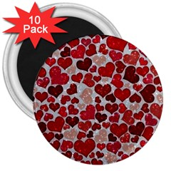 Sparkling Hearts, Red 3  Magnets (10 Pack)  by MoreColorsinLife