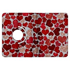 Sparkling Hearts, Red Kindle Fire Hdx Flip 360 Case by MoreColorsinLife