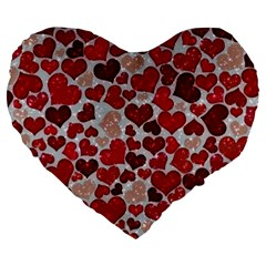 Sparkling Hearts, Red Large 19  Premium Flano Heart Shape Cushions by MoreColorsinLife