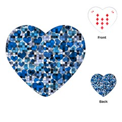 Hearts And Checks, Blue Playing Cards (heart)  by MoreColorsinLife
