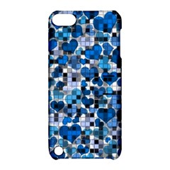 Hearts And Checks, Blue Apple Ipod Touch 5 Hardshell Case With Stand by MoreColorsinLife