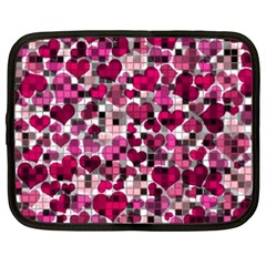 Hearts And Checks, Pink Netbook Case (large)	 by MoreColorsinLife