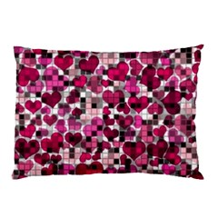 Hearts And Checks, Pink Pillow Cases (two Sides)