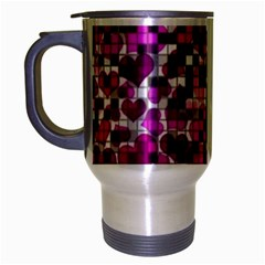 Hearts And Checks, Purple Travel Mug (Silver Gray) by MoreColorsinLife