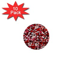 Hearts And Checks, Red 1  Mini Magnet (10 Pack)  by MoreColorsinLife