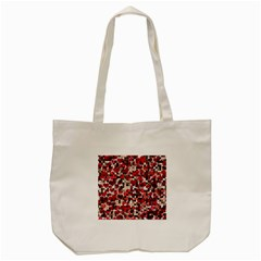 Hearts And Checks, Red Tote Bag (cream)  by MoreColorsinLife