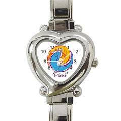 Pisces Star Sign Heart Italian Charm Watch by theimagezone