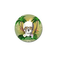 Funny Skull With Sunglasses And Palm Golf Ball Marker by FantasyWorld7