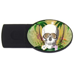 Funny Skull With Sunglasses And Palm USB Flash Drive Oval (1 GB)  by FantasyWorld7