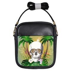 Funny Skull With Sunglasses And Palm Girls Sling Bags by FantasyWorld7