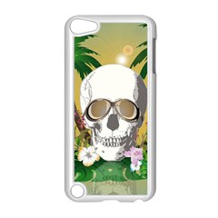 Funny Skull With Sunglasses And Palm Apple Ipod Touch 5 Case (white) by FantasyWorld7