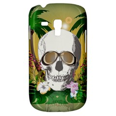 Funny Skull With Sunglasses And Palm Samsung Galaxy S3 MINI I8190 Hardshell Case by FantasyWorld7